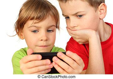非常に, 興味を起こさせること, 魅了される, 電話, それ, ゲーム, 彼ら, 見いだされた, 子供