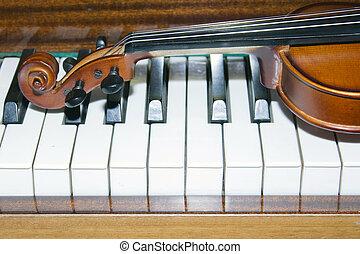 非常, 小提琴, 鋼琴, 老, 躺