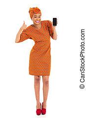 非洲的婦女, 顯示, 聰明, 電話, 以及, 姆指向上
