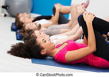 非裔美國人 婦女, 做, 有氧運動