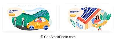 面板, 力量, illustration., 工作, 绿色, template., 能量, eco, 控告, 房子, 矢量, 汽车, roof., 概念, station., 可更新, 技术, 可持续, 妇女, 太阳, 电, 笔记本电脑