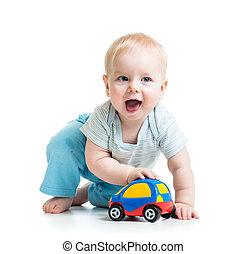 面白い, おもちゃ, 男の子, 自動車, 遊び, 子供
