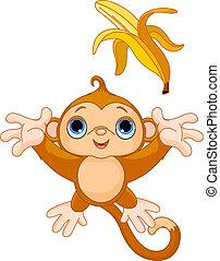 面白い, つかまえること, サル, バナナ