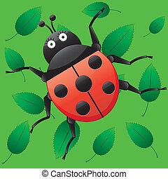 面白い, てんとう虫, 私, 特徴, seamless, イラスト, 葉, 見る, ベクトル, 緑の背景, 漫画