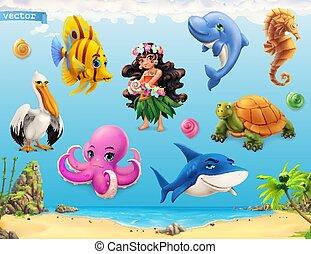 面白い, わずかしか, ベクトル, seashell., fishes., 海動物, セット, 3d, 女の子, アイコン