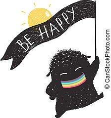 面白い, わずかしか, モンスター, かわいい, 日当たりが良い, 旗, 黒, リボン, 幸せ