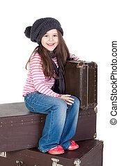 面白い, わずかしか, 古い, 女の子, スーツケース