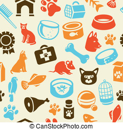 面白い, アイコン, パターン, 犬, seamless, ねこ, 明るい