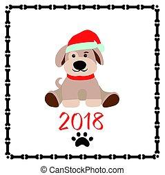 面白い, アップリケ, 幼稚, 挨拶, ペーパー,  2018, 年, 新しい, 子犬