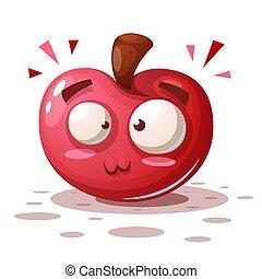 面白い, アップル, かわいい, -, characters., 漫画