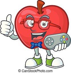 面白い, アップル, 菜食主義者, 特徴, gamer, 漫画, 赤
