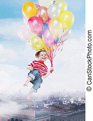 面白い, イメージ, 飛行, 提出すること, 風船, 子供