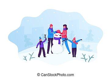 面白い, イラスト, 風景, クリスマス, 家族, 冬, vacation., 人々, ホリデー, activity., 雪が多い, 遊び, バックグラウンド。, 時間, 作成, 屋外, ベクトル, 子供, 平ら, 雪だるま, 漫画, 親, 幸せ