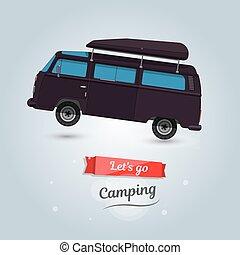 面白い, キャンプ, 旅行, 観光客, lets, 車。, minivan., 行きなさい, 漫画
