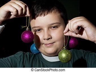 面白い, クリスマス, 男の子