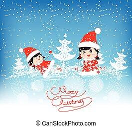 面白い, クリスマス, 陽気, 幸せ