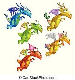 面白い, クローズアップ, セット, illustration., カラフルである, 隔離された, ドラゴン, バックグラウンド。, ベクトル, 白, 活気づけられた, 漫画