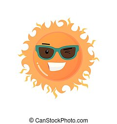 面白い, サングラス, toothy, 太陽, ステッカー, 隔離された, 背景, 微笑, 白, emoji