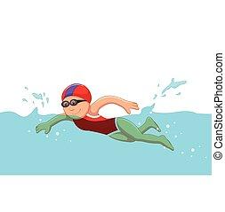 面白い, スイマー, 女の子, 漫画, プール, 水泳