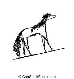 面白い, スケッチ, デザイン, 馬, あなたの