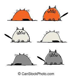 面白い, スケッチ, ネコ, あなたの, デザイン