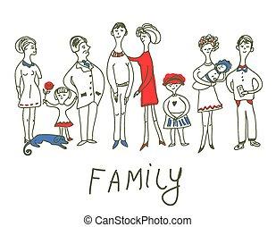 面白い, スケッチ, 家族, -, 犬, イラスト, でき事