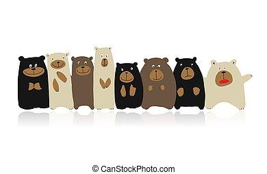 面白い, スケッチ, 熊, 家族, デザイン, あなたの