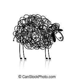 面白い, スケッチ, sheep, 黒, デザイン, あなたの