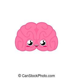 面白い, スタイル, 子供, cute., childrens, 器官, character., 漫画, 解剖学, 脳, 内部, 人間, style.
