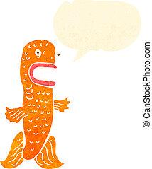 面白い, スピーチ, レトロ, 金魚, 泡, 漫画