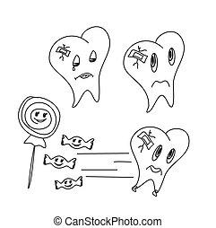面白い, セット, アイコン, 手, ベクトル, 引かれる, 歯