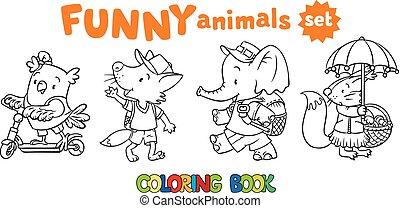面白い, セット, 動物, 着色, 赤ん坊, 本