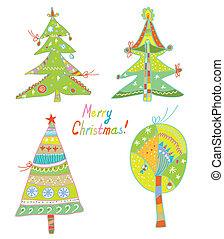 面白い, セット, 木, デザイン, 旗, クリスマス