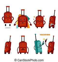 面白い, セット, 特徴, 袋, ベクトル, 飛行機, 旅行する