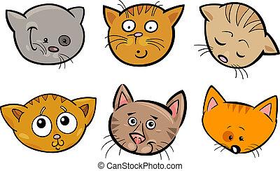 面白い, セット, 頭, ネコ, 漫画