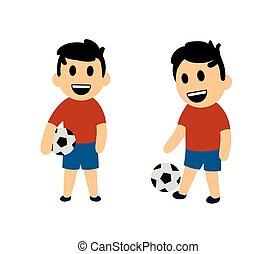 面白い, セット, illustration., 男の子, 2, football., 隔離された, characters., ベクトル, 平ら, バックグラウンド。, 白, 遊び, 漫画