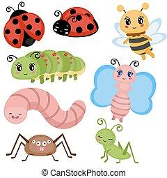 面白い, セット, insects.