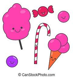 面白い, セット, seth, sweets., イラスト, candy., 甘い, children., 漫画