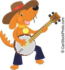 面白い, バンジョー, プレーする, 犬, ブラウン