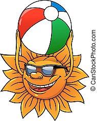 面白い, ボール, 夏, 太陽