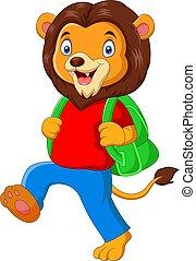 面白い, ライオン, 学校, 漫画, 行く