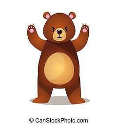 面白い, 上げられた, grizzly, ブラウン, 怒る, 熊, 足, 漫画
