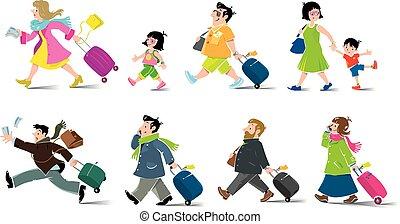 面白い, 乗客, セット, 空気, 男性, 子供, 女性