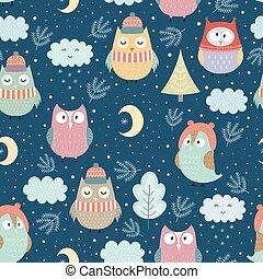面白い, 冬, パターン, seamless, フクロウ, 夜