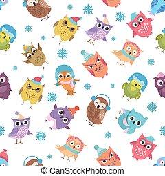 面白い, 冬, pattern., seamless, フクロウ, ベクトル, 背景, 休日, クリスマス