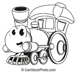 面白い, 列車, 着色, おもちゃ