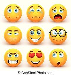 面白い, 別, アイコン, set., smiley, emoticons, 黄色の額面, ベクトル, 表現, 3d
