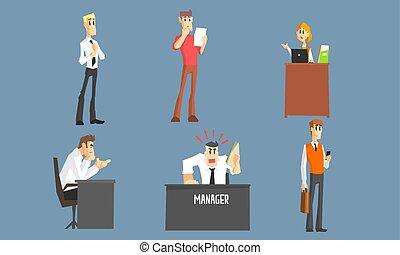 面白い, 別, マネージャー, 労働者のオフィス, 人々, セット, 状態, イラストビジネス, 女性, ベクトル, 特徴, マレ