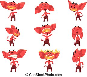 面白い, 別, 悪魔, セット, 感情, ベクトル, 特徴, イラスト, 漫画, 赤