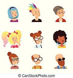 面白い, 別, 特徴, 人々, セット, 奇妙, ヘアスタイル, ベクトル, 特徴, 顔, イラスト